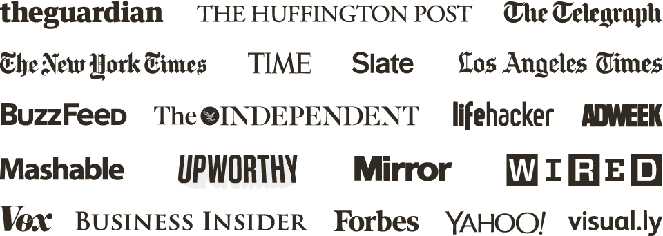 Logos for The Guardian, The Huffington Post, The Telegraph, The NY Times, Time, Slate, The LA Times, Buzzfeed, The Independent, Lifehacker, Adweek, Mashable, Upworthy, The Mirror, Wired, Vox, Business Insider, Forbes, Yahoo!, and Visual.ly